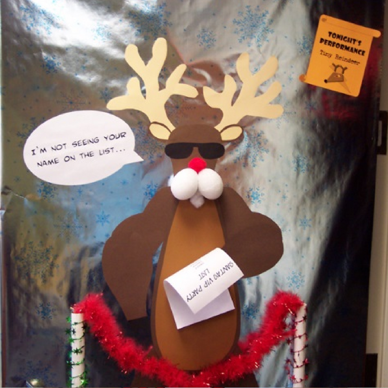 Funny bouncer rudolph christmas door decoration