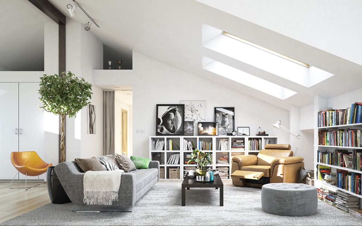 Beautiful scandinavian interior filled with book cases and artwork
