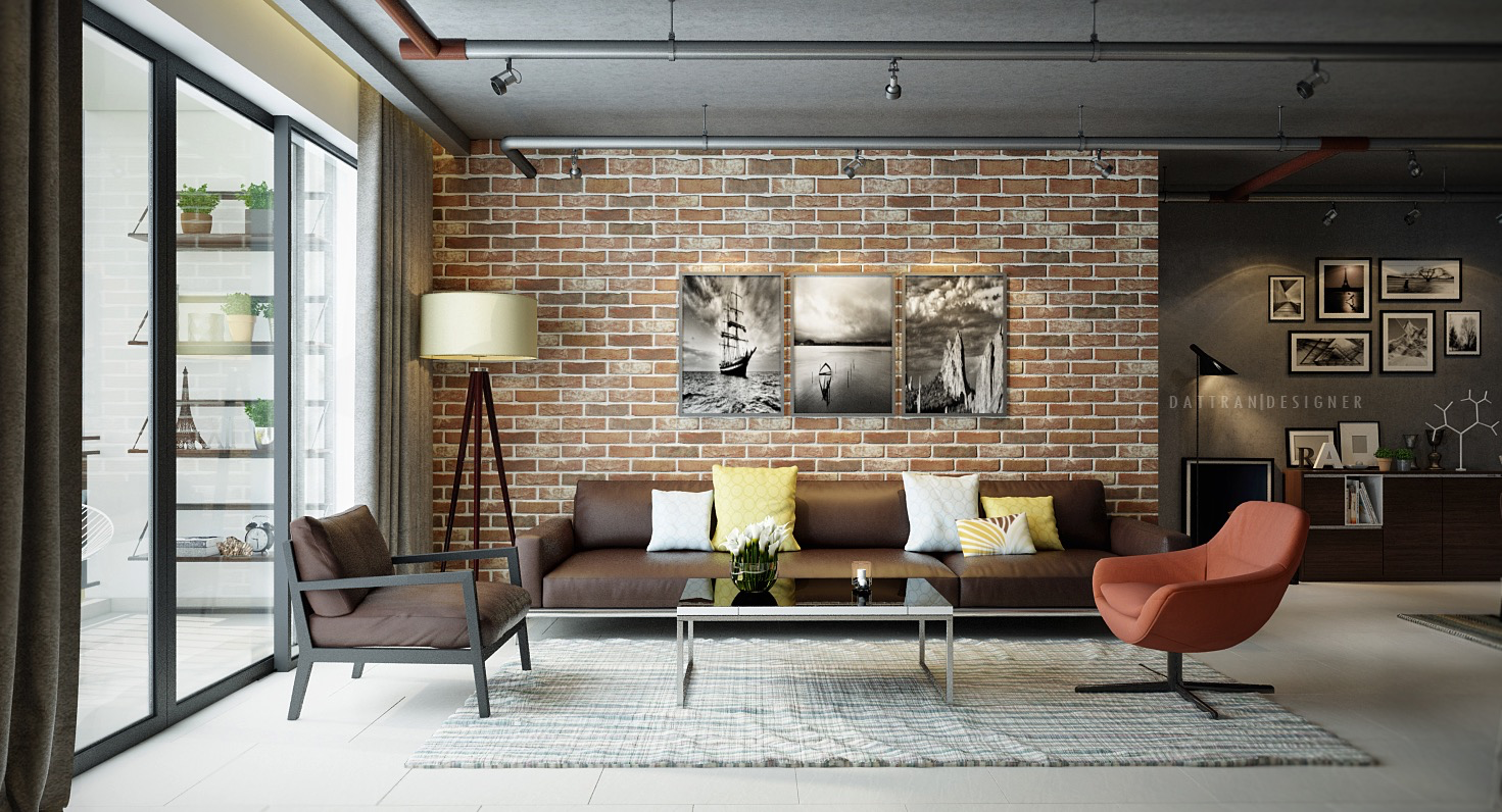 Exposed Brick Accent Wall With Modern Industrial Interior