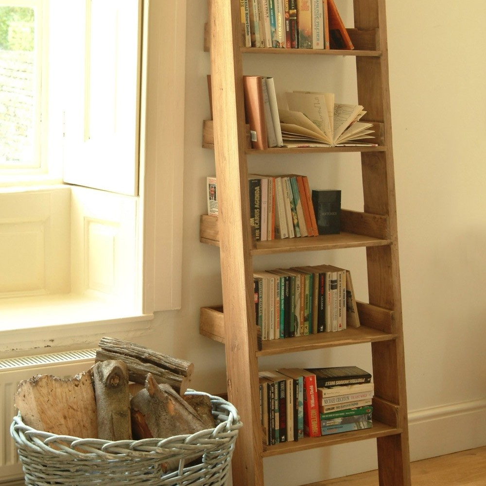 wooden ladders converted into new shelves with books on