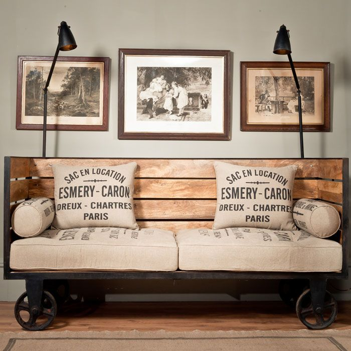 Sofa made from reconditioned industrial parts