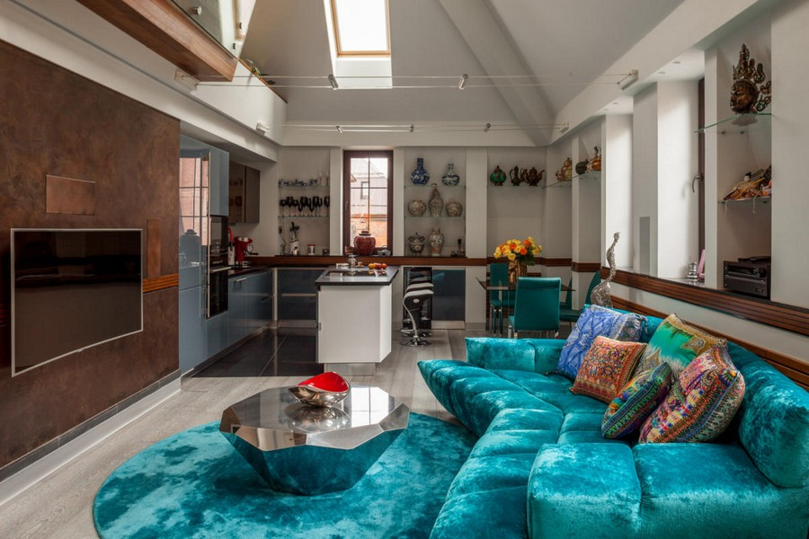 blue velvet style interior