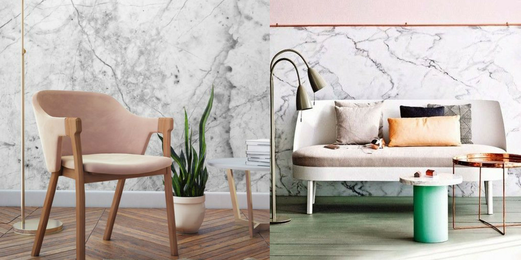 marble interior design trend with couch, chair and green plant