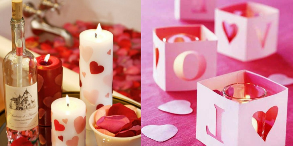 Valentine's Day pink and red candles and candle holders