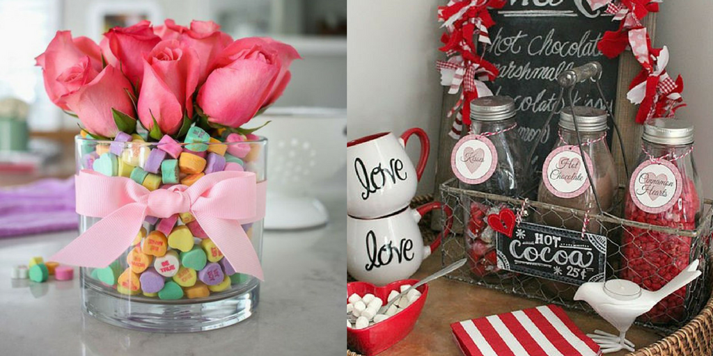 Valentine's Day sweets in jars for table decoration