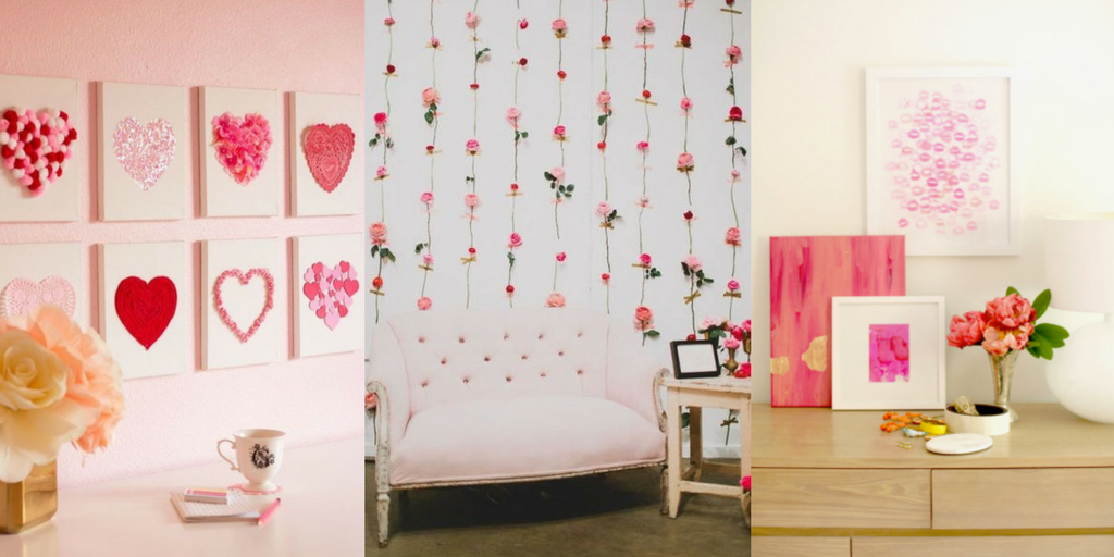 Valentine's Day wall art with hearts and flowers and kisses