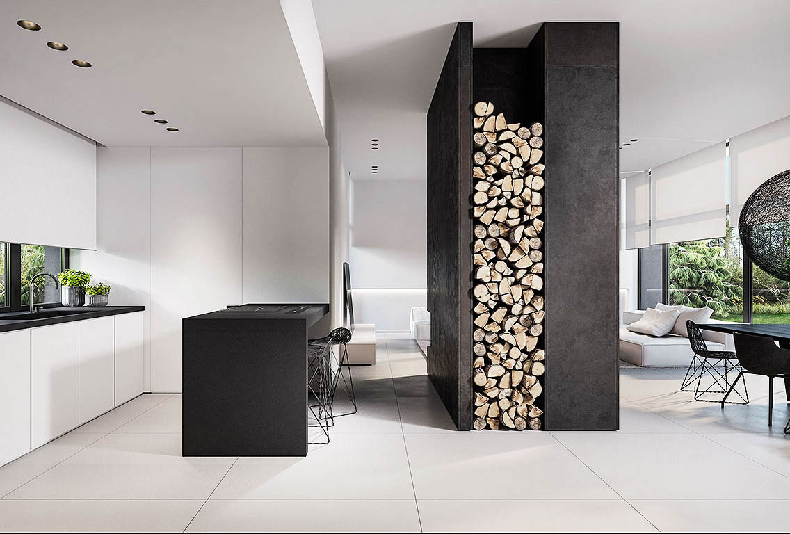 Monochrome Interior With Wood Pile For Woodburning Fire