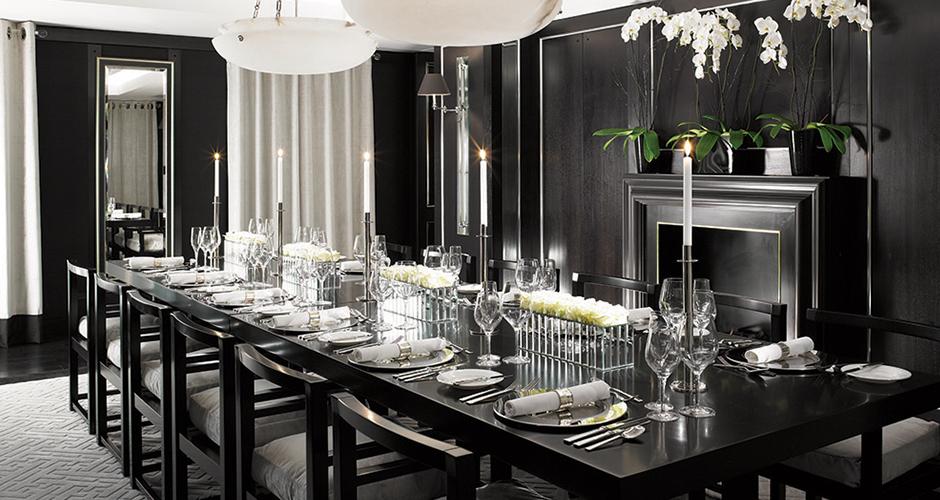 monochrome dining room interior