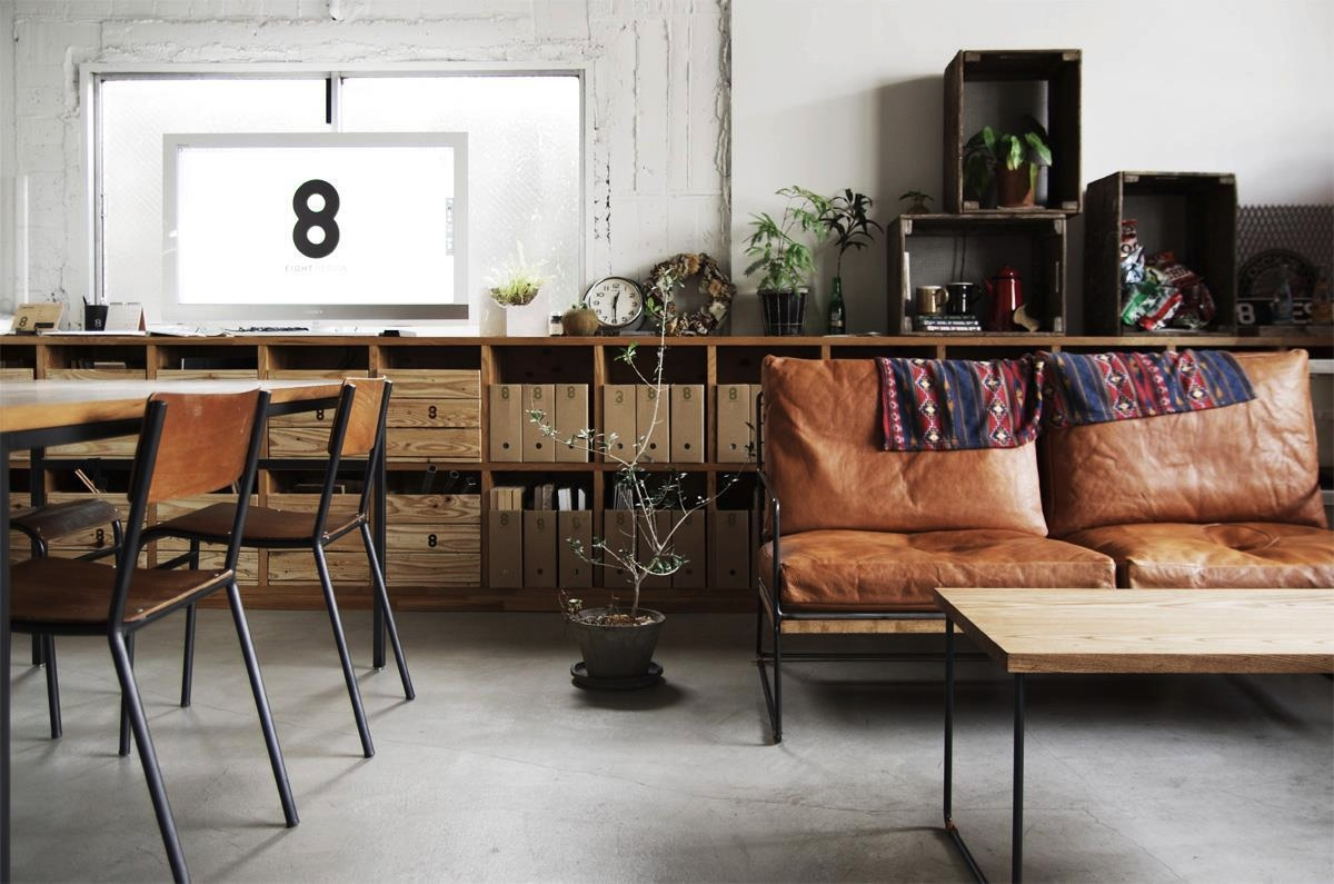 vintage style interior with leather couch chairs and calendar
