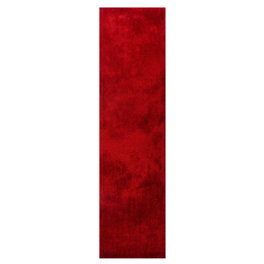 Grande vista shaggy hallway runner in red
