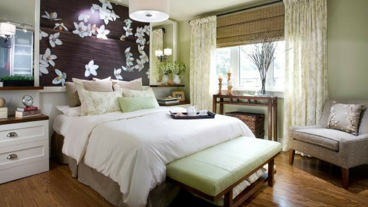 woodland theme decor in a master bedroom