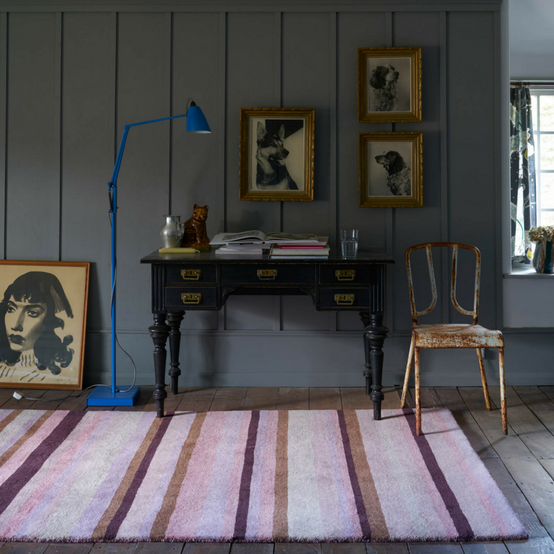 Ainslie Striped Rug AIN01 in Pink