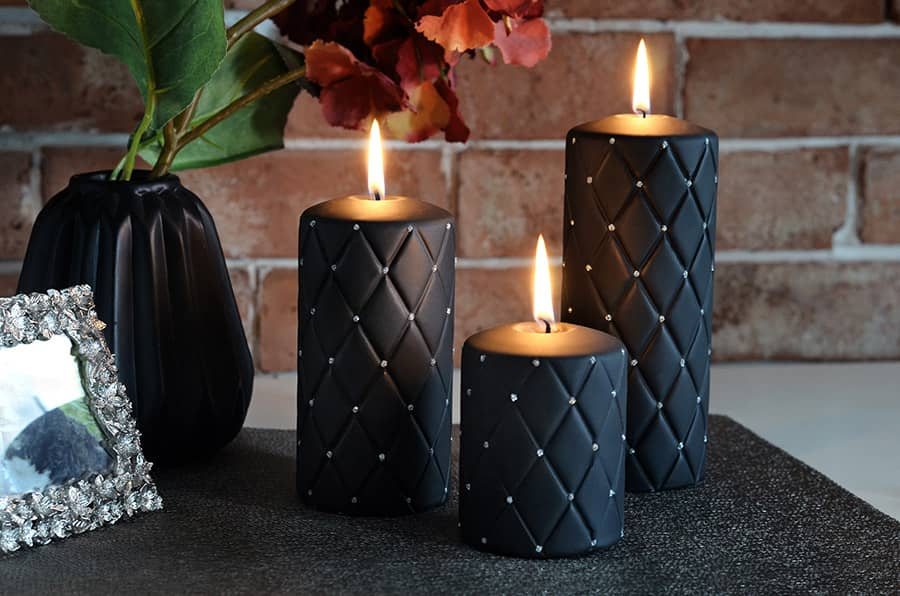 beautiful decorative black candles
