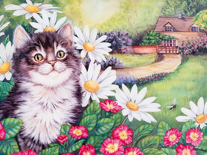 Mothers Day painting of a cat in a flower bush with a house in the background
