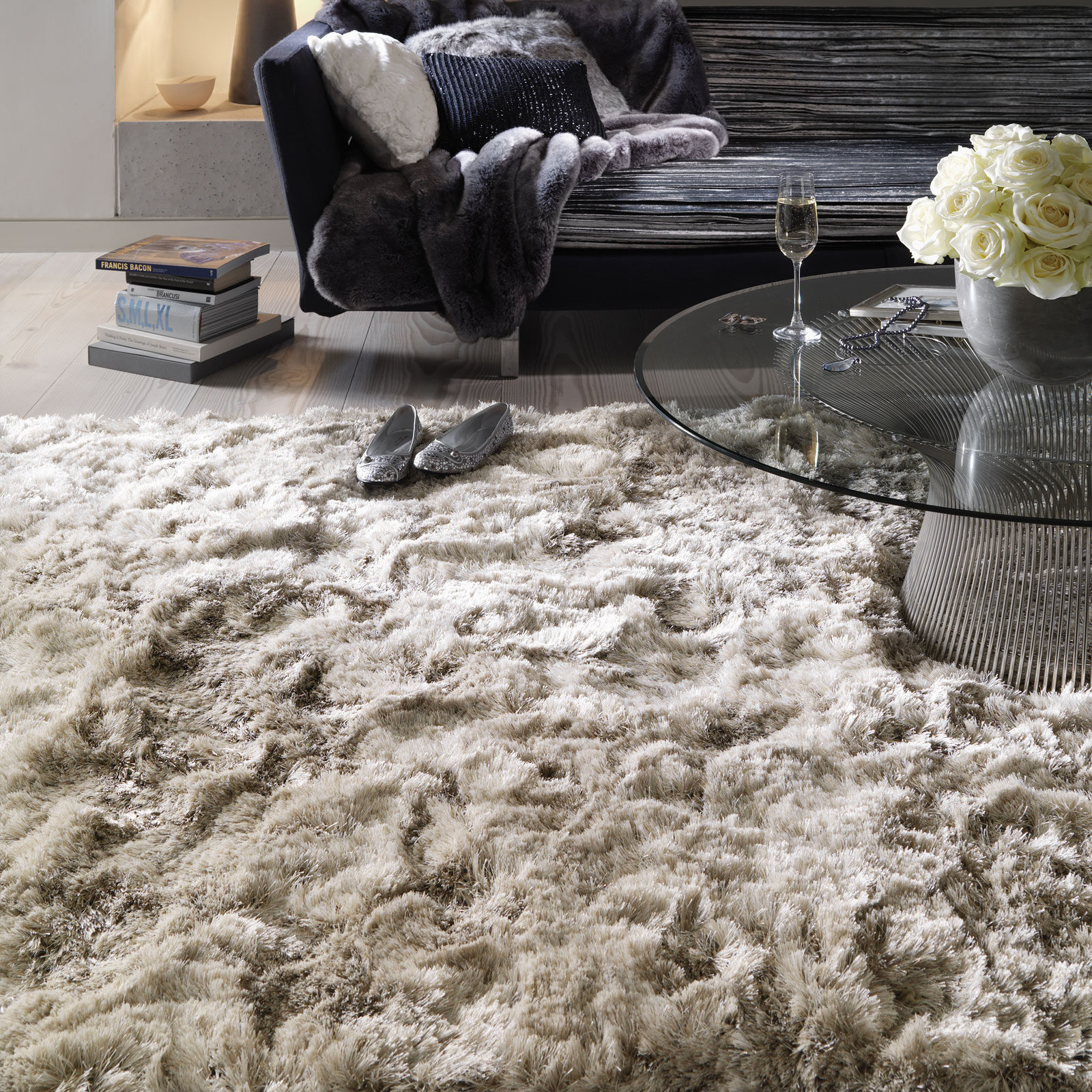 Plush Shaggy rugs in sand from the rug seller