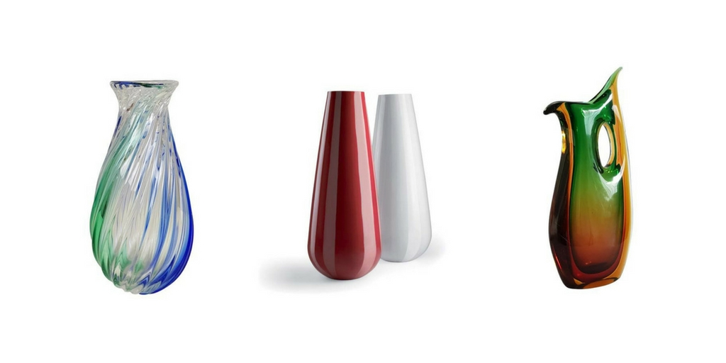 multiple different colours of vases