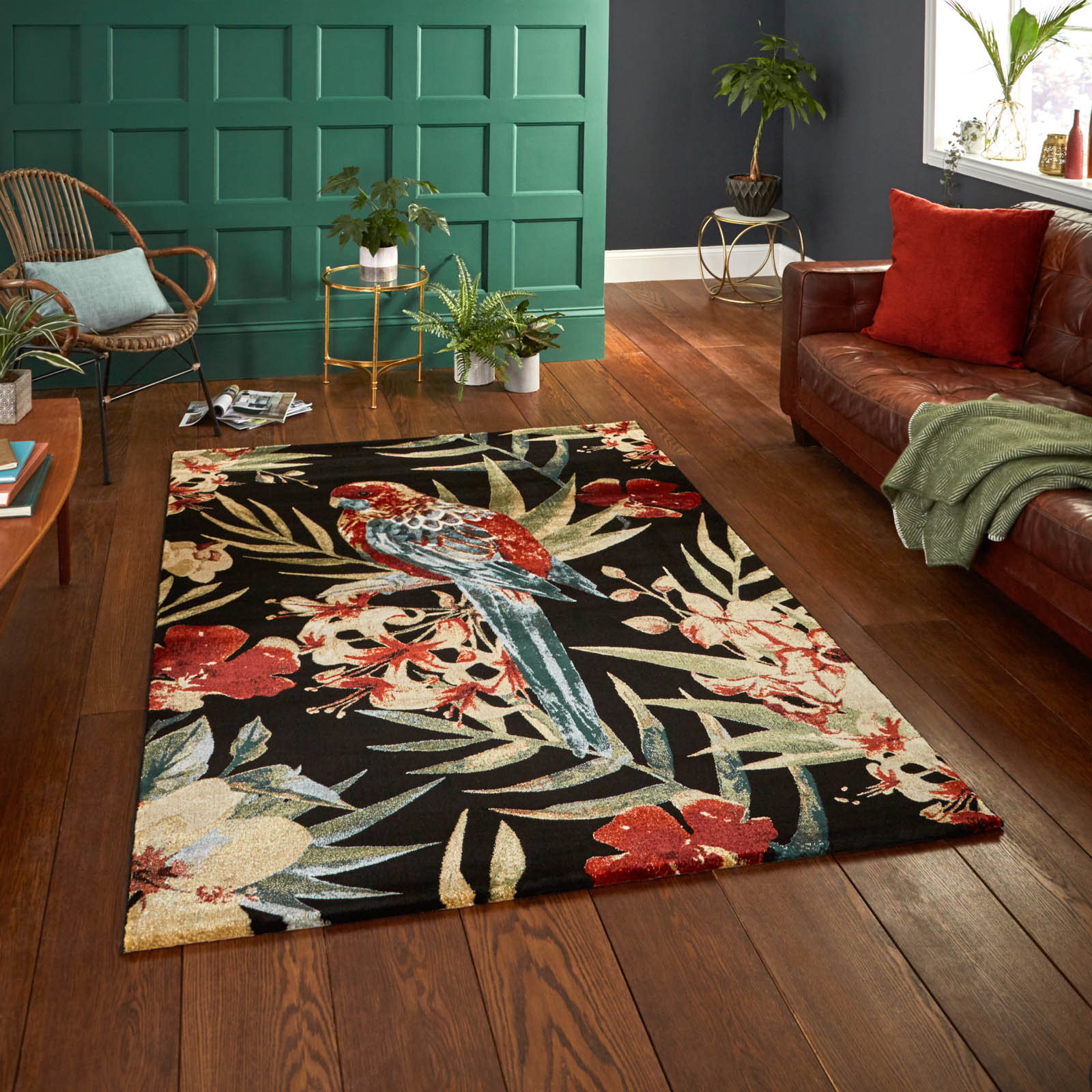 Mother's Day gift, Tropics Rugs 6093 in Black and Multi-colours