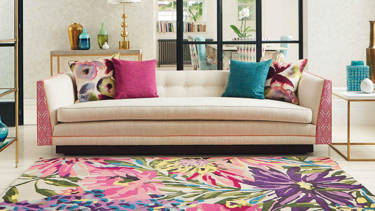 Mother's Day gift, Floreale Rugs 44905 in Fuschia