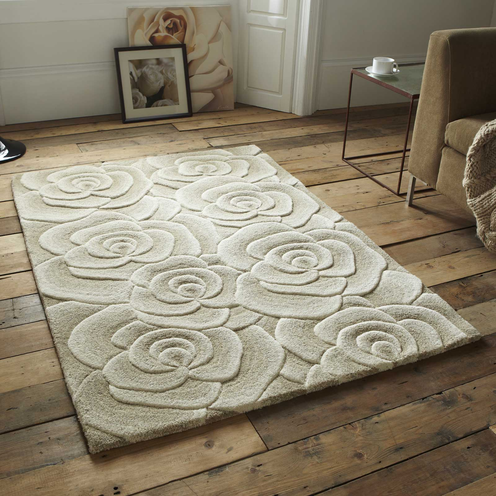 Mother's Day gift, Valentine Rugs VL10 Hand Made Indian Wool in Beige