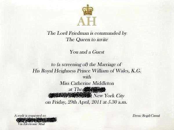 Royal Wedding invitation to William and Kate's wedding
