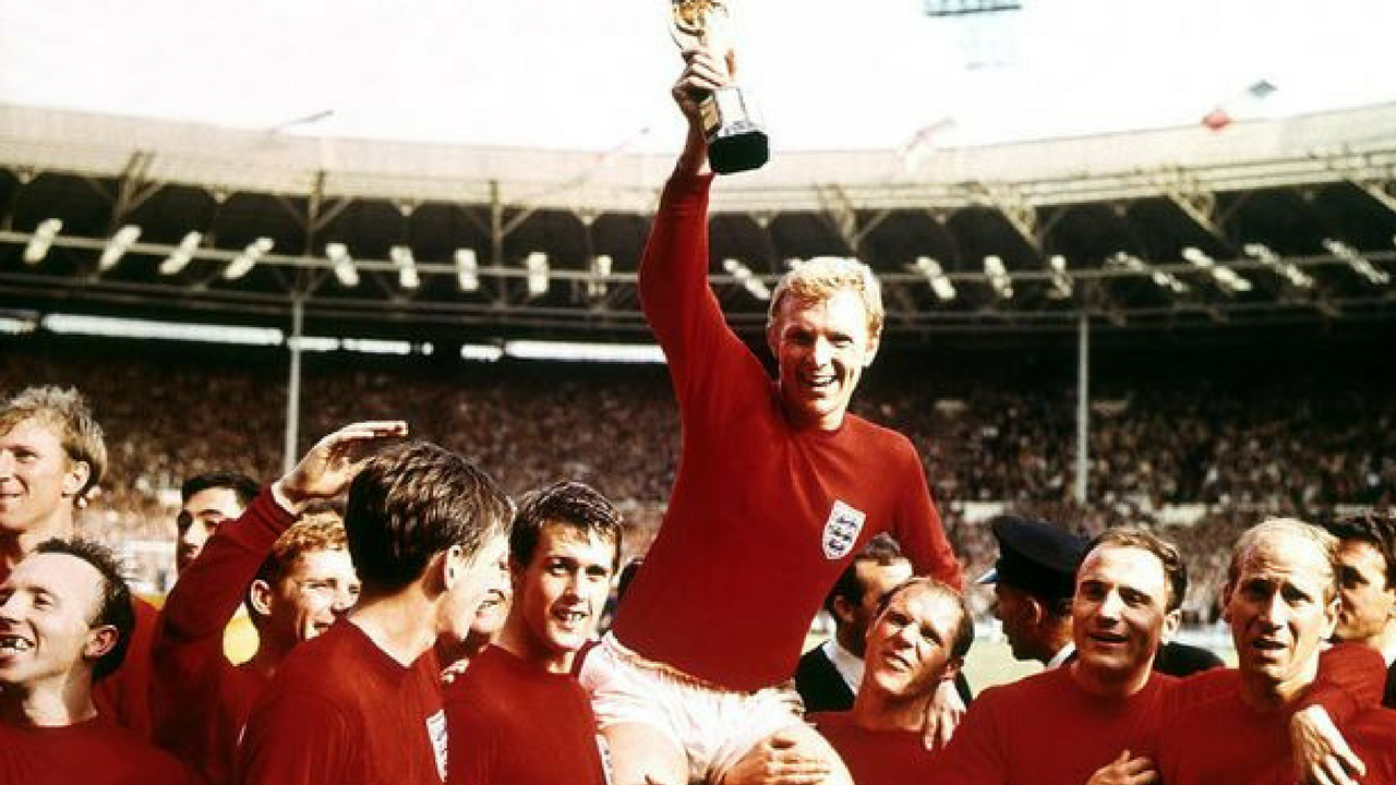 St. George's Day Sir Bobby Moore celebrating the England Cup in 1966
