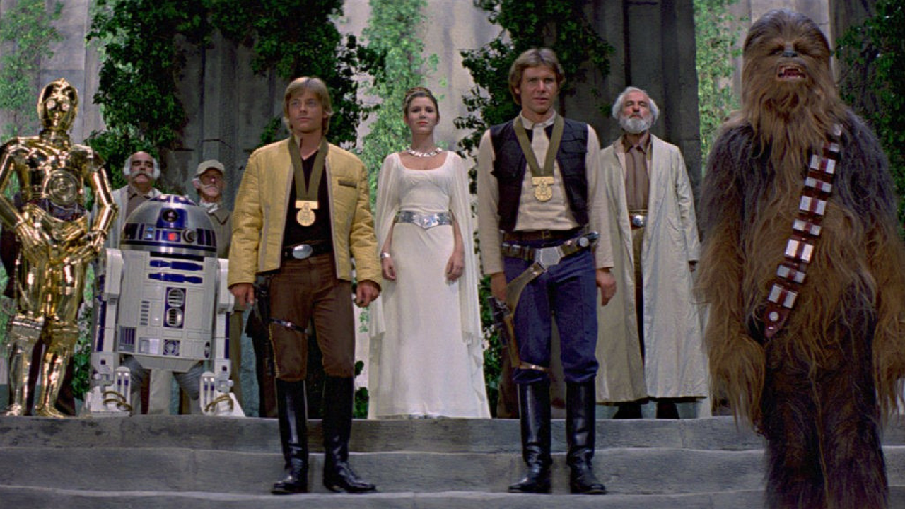Star Wars May the 4th be with you Medal Ceremony in Star Wars: Return of The Jedi with Princess Leia, Luke Skywalker, Han Solo and Chewbacca