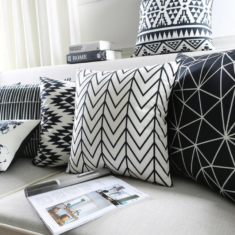Geometric Patterns Monochrome Throw Pillows