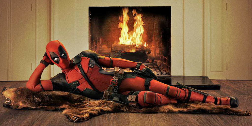 Deadpool Laying on a Bear Rug Next to a Fireplace