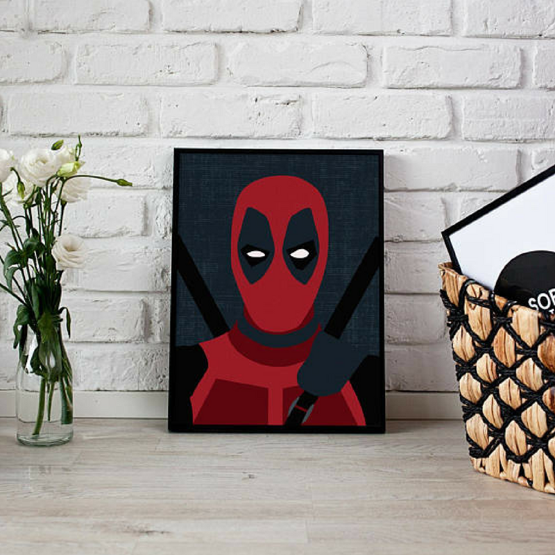 Deadpool Face Wall Art for a Kids Bedroom