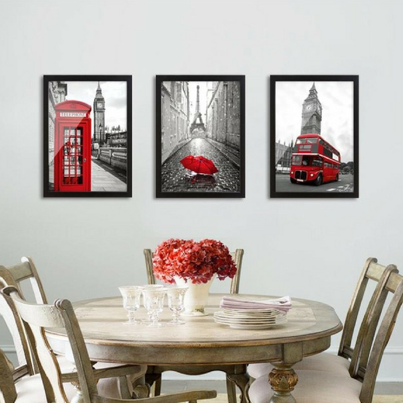 St. George's Day 3 wall art images of a telephone box, umbrella and London double Decker bus in black, white and red.