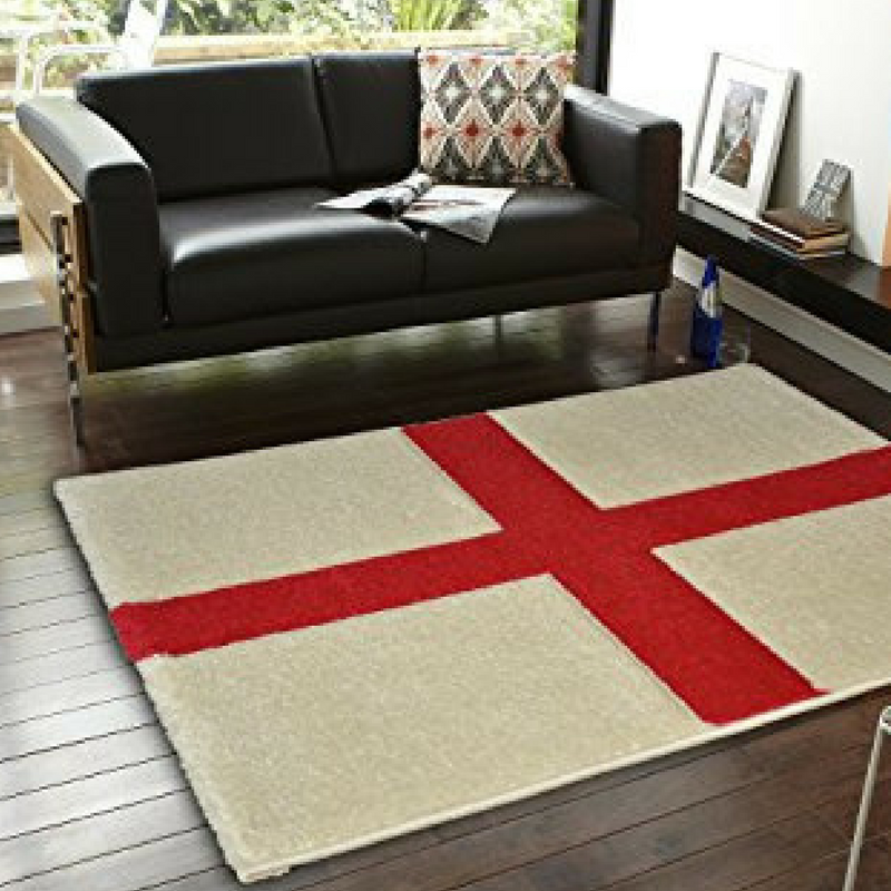 St. George's Day The Rug Seller England flag rug on a hardwood floor