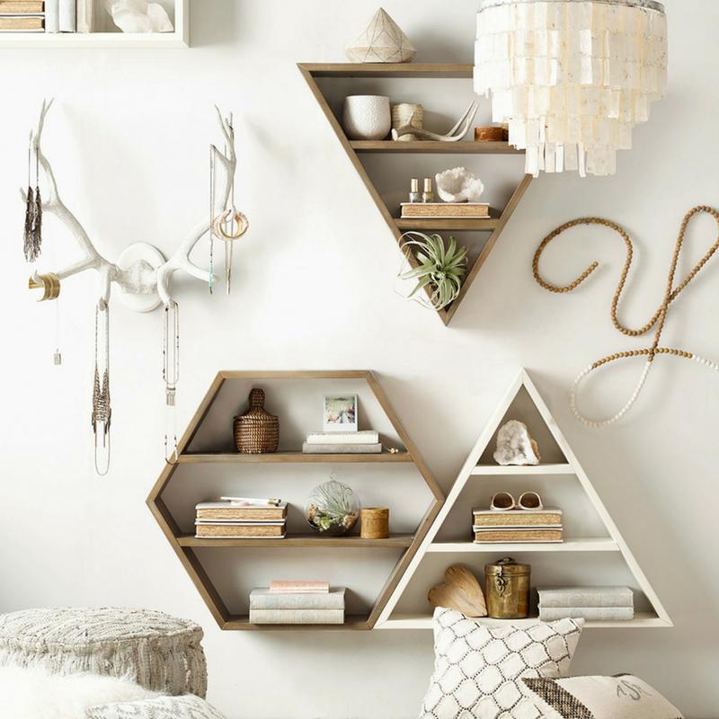 Geometric Patterns Floating Shelves
