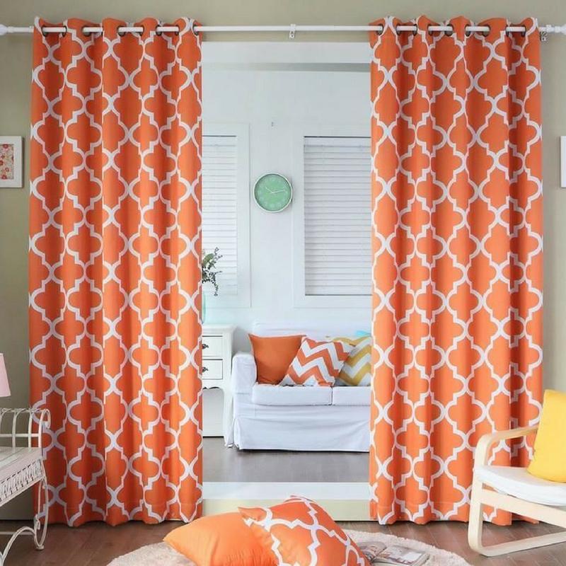Geometric Patterns Bright Orange Curtains
