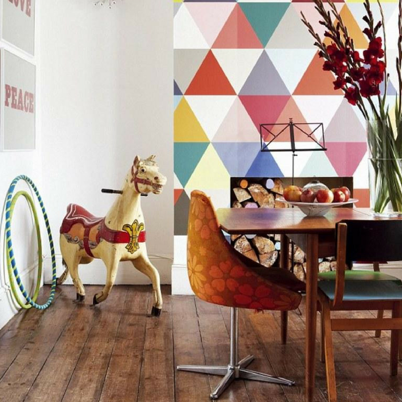 Geometric Patterns Colourful Wallpaper in a dining room