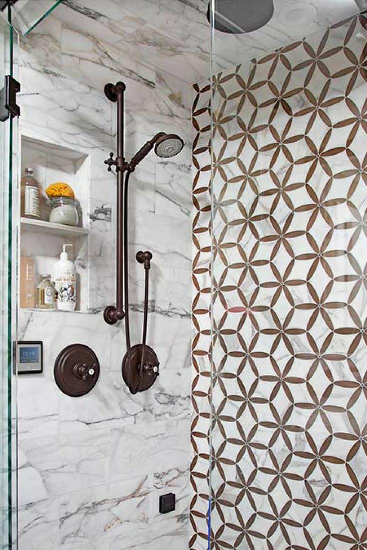 Geometric Patterns Bathroom Wall Tiles in Brown/Copper