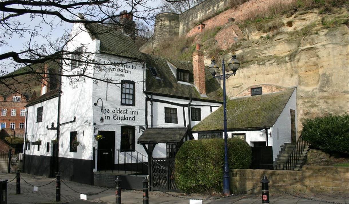 St. George's Day ye olde trip to Jerusalem pub the oldest inn in England