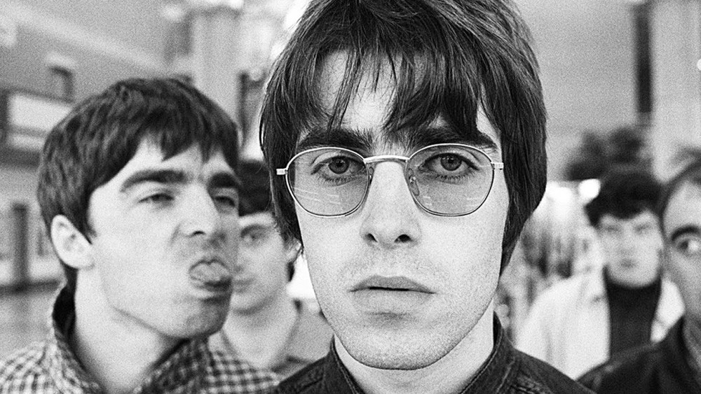 St. George's Day Black and white close up image of Liam Gallagher and his Oasis band members.