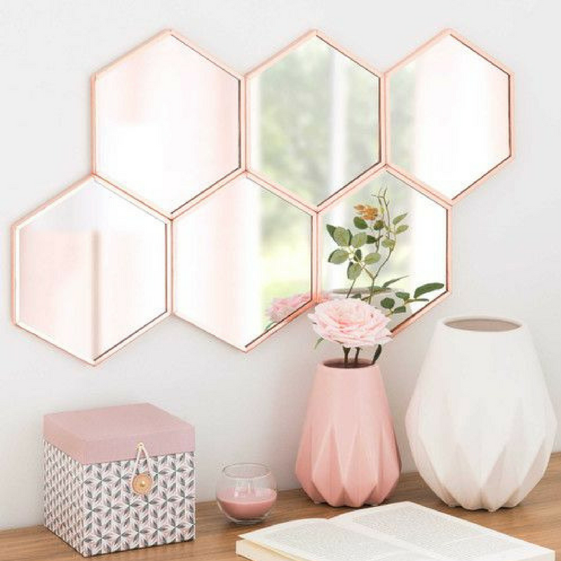 Colourful Decor Hexagon Mirrors Reflecting Colourful Light
