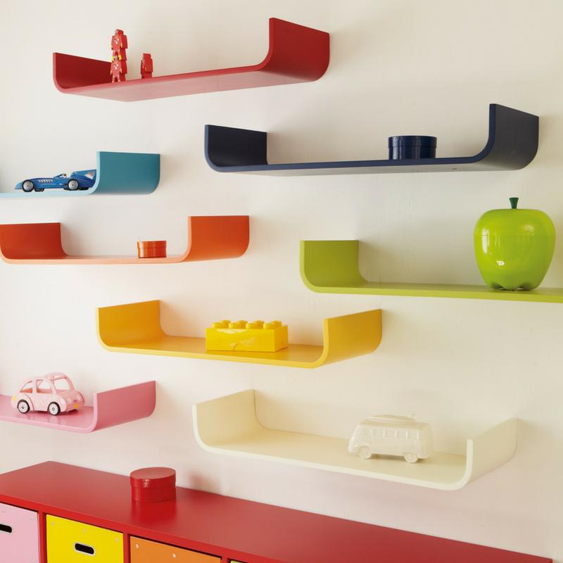 Colourful Decor Rainbow Coloured Shelves