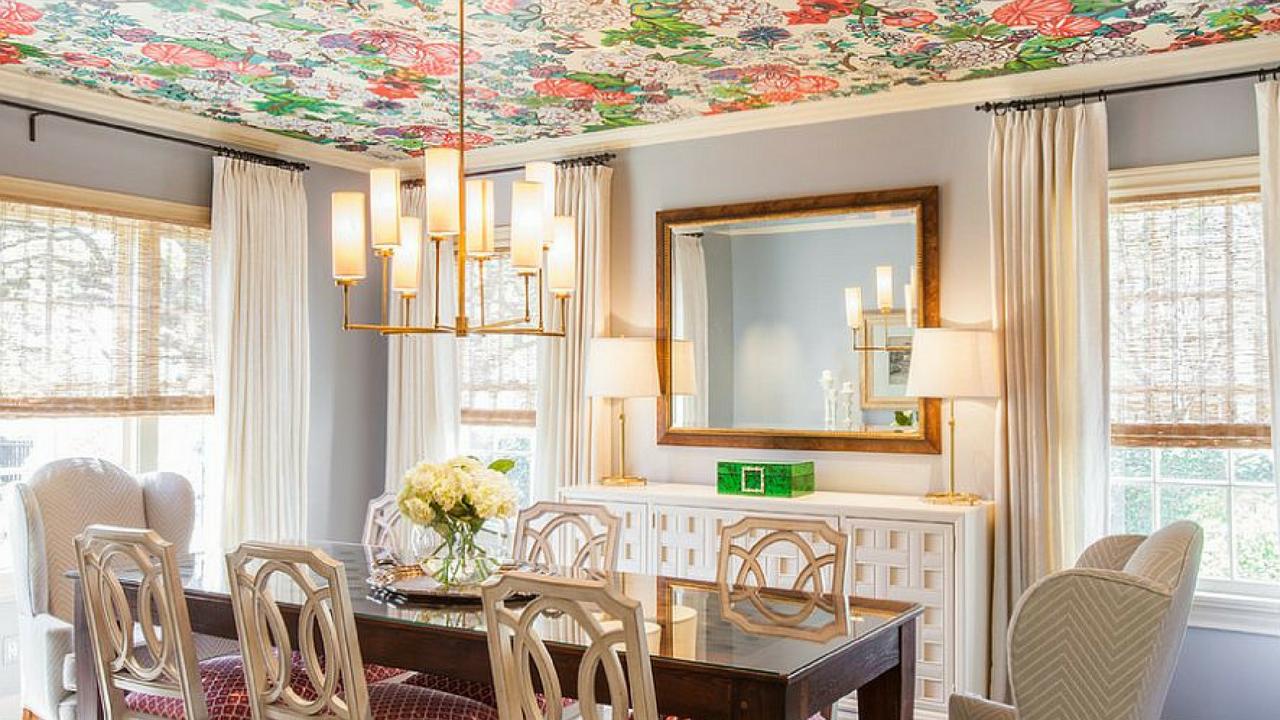 Colourful Decor Floral Ceiling Interior Design