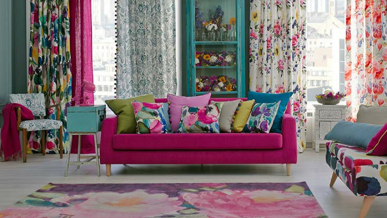 Colourful Decor Bluebellgray Interior with a rug and Scatter Cushions
