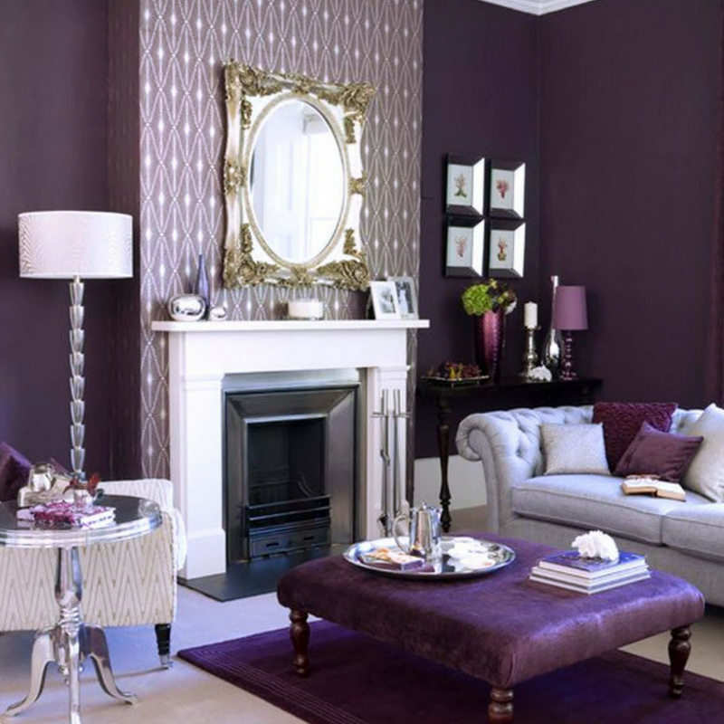 Ultra Violet Purple Living Room Filled With Accessories