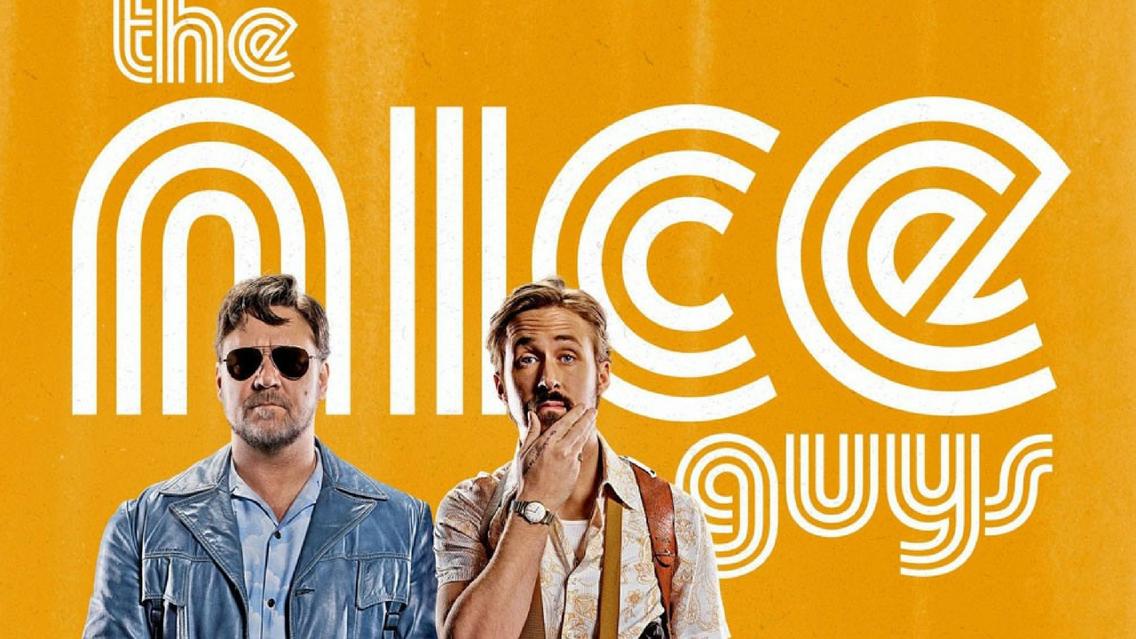 Ryan Gosling and Russell Crowe in the nice guys movies set in 1970s