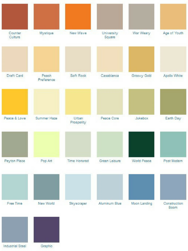1970s colour palette for the home