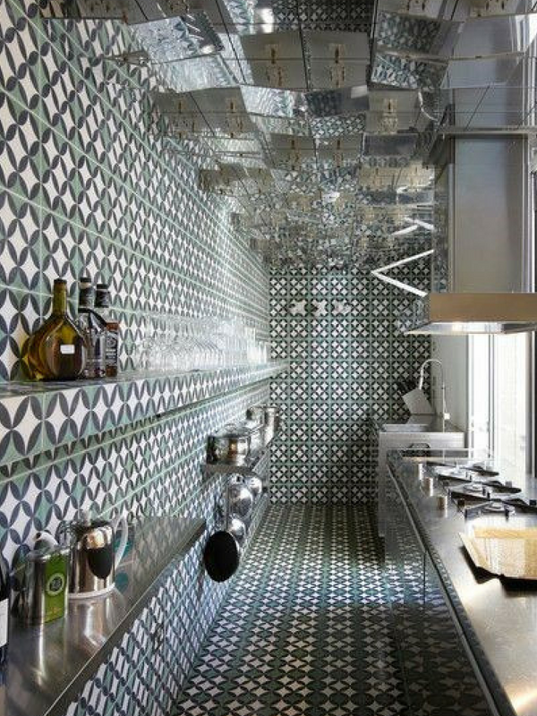 1970s style kitchen filled with Moroccan tiles