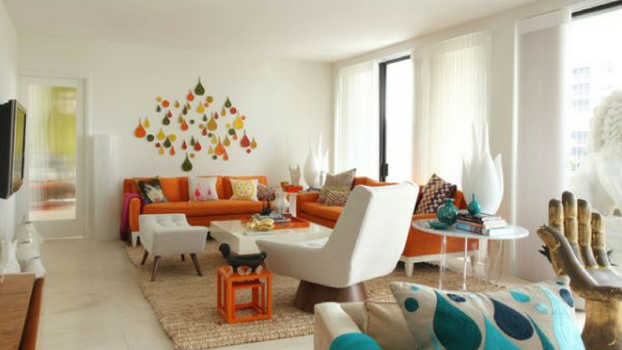Cute 1970s orange and white decor scheme