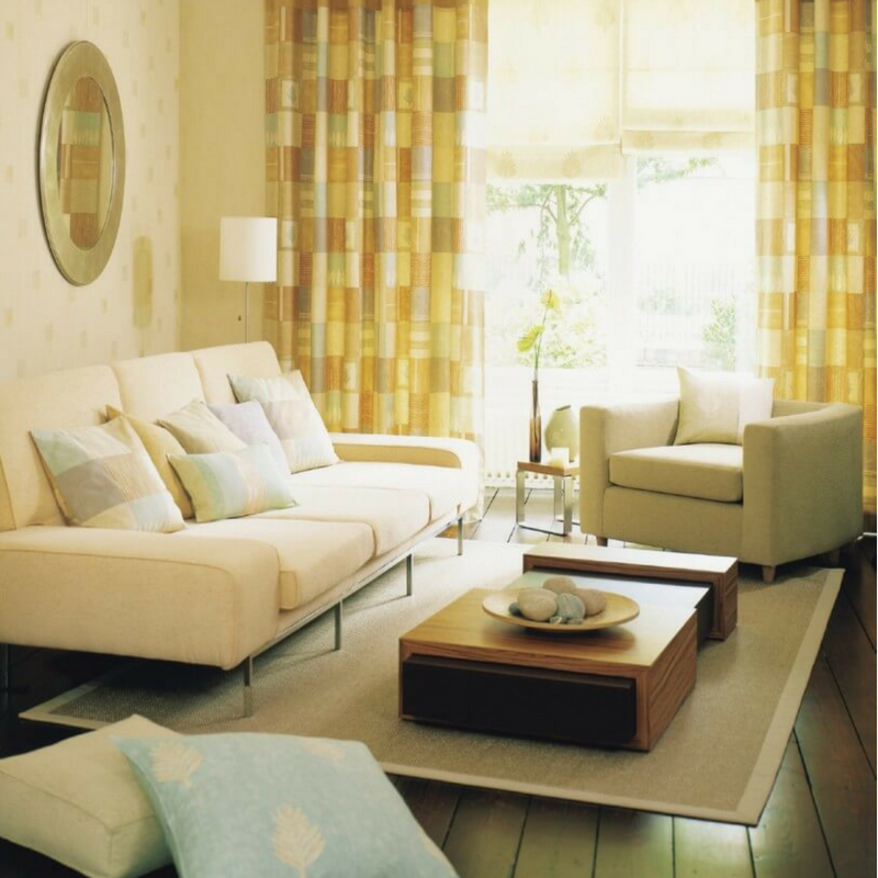 Pale yellow living room