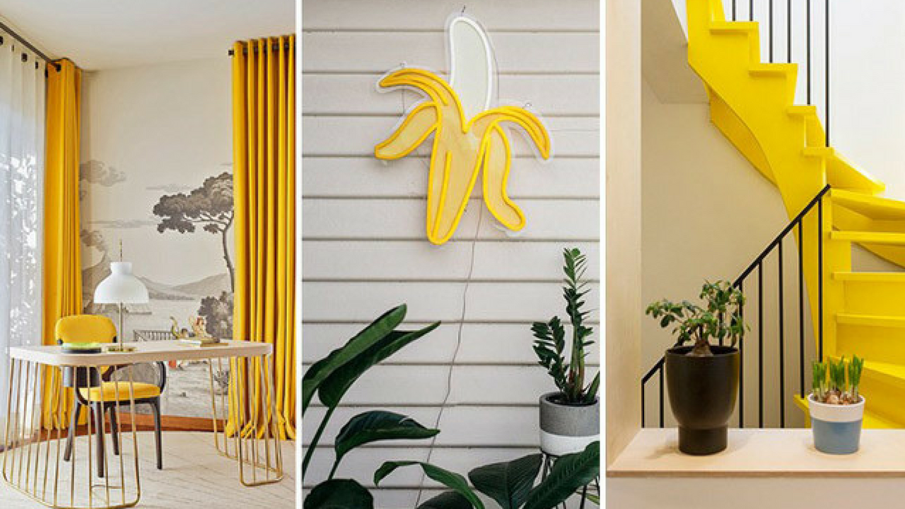 3 yellow interior images in one image