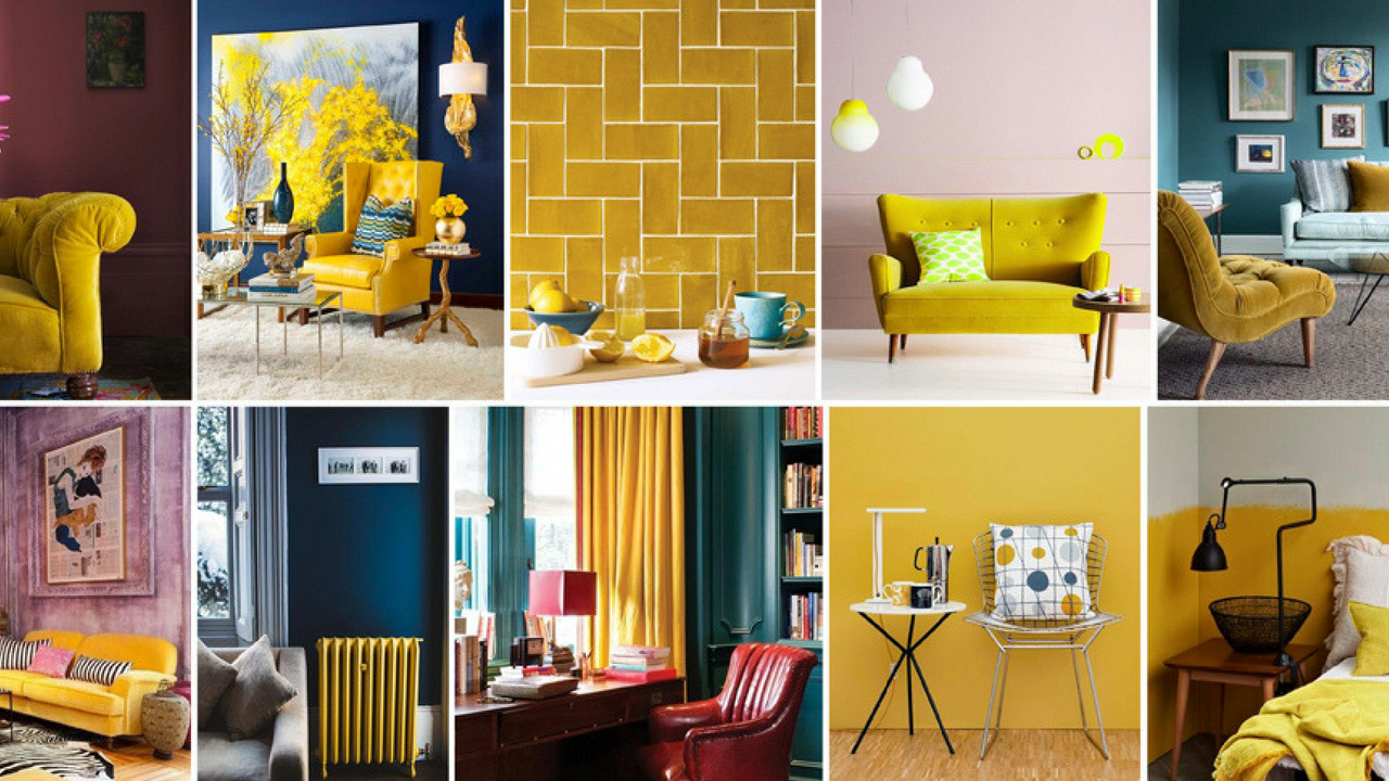 Various yellow interior images in a grid
