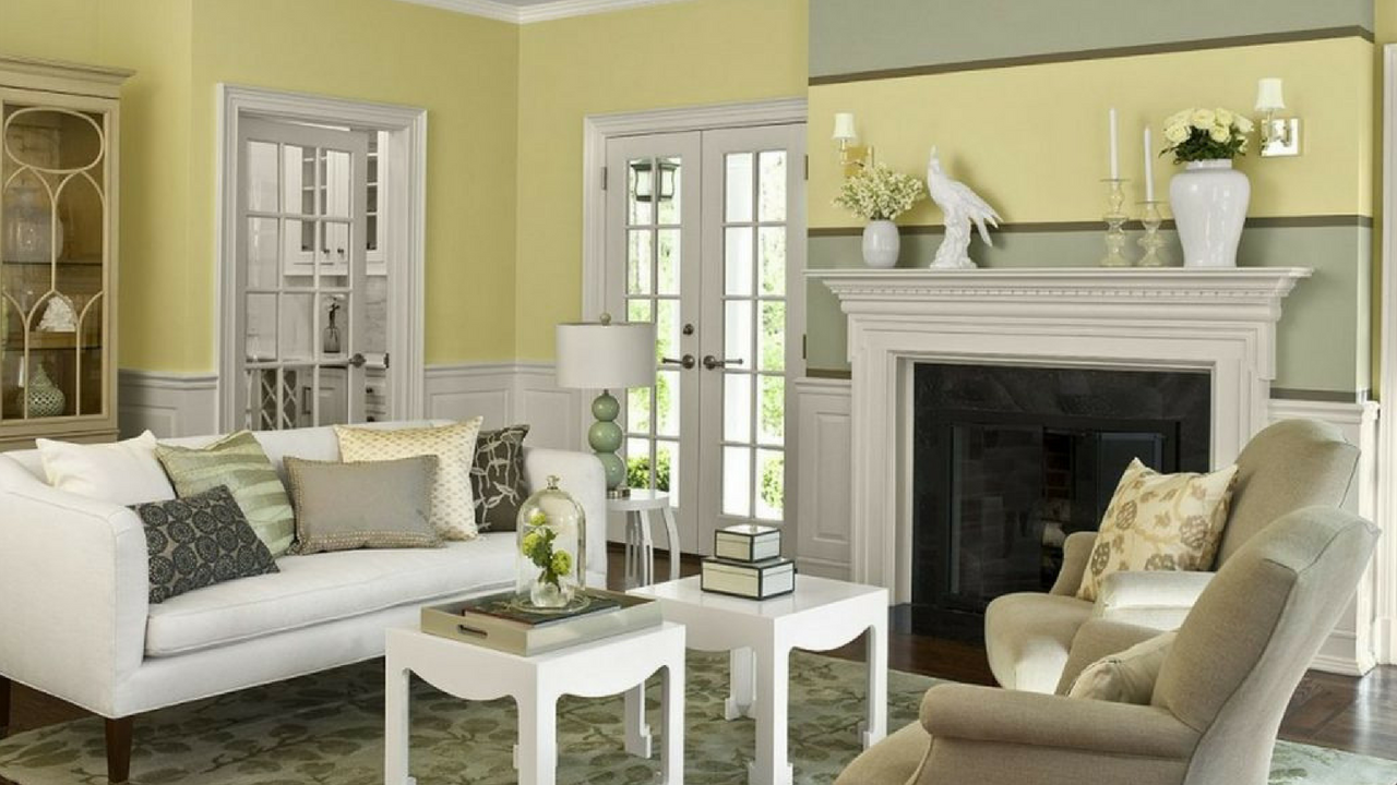 Neutral Yellow living room with yellow walls and large sofas